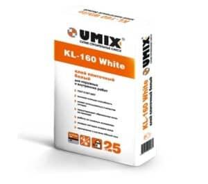 Белый плиточный клей KL-160 White, мешок 25 кг, «Umix»