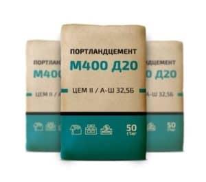 Цемент М400 Д20 (ЦЕМ II/А-Ш 32,5Б), мешок 50 кг, «Михайловцемент»