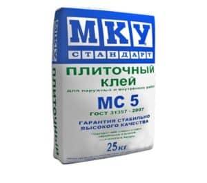 Клей плиточный МС5 МКУ стандарт, мешок 25 кг, «МКУ стандарт»
