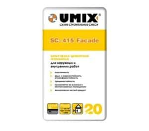 Шпатлевка цементная финишная SC-415 Facade, мешок 20 кг, «Umix»