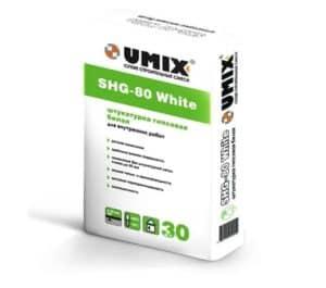 Белая гипсовая штукатурка SHG-80 White, мешок 30 кг, «Umix»