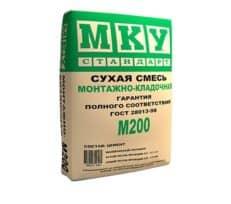 Сухая строительная смесь М-200 монтажно-кладочная, мешок 40 кг, «МКУ стандарт»